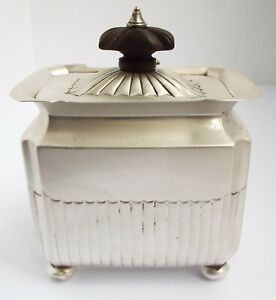 LOVELY CONDITION HEAVY ENGLISH ANTIQUE VICTORIAN 1890 SOLID SILVER TEA CADDY BOX