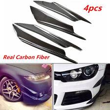 4x Real Universal Carbon Fiber Front Bumper Splitter Fins Body Spoiler Canards