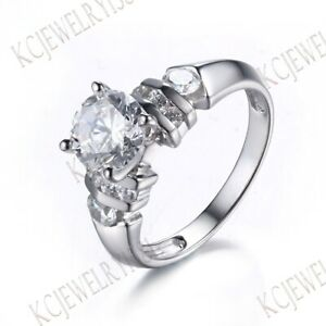 AAA Graded CZ Round Cut 10K White Gold Channel/Tension/Prong Setting Party Ring