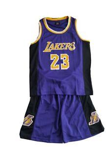 Lebron James 23 LA Lakers Kids Basketball Jersey Shorts Set- Purple