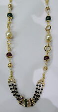 Vintage solid 22K Gold handmade jewelry stone Beads Chain necklace