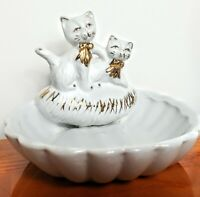 "Vintage White & Gold Painted Cat Soap Dish Hangable 3.75""x5"" Ceramic Kitschy"