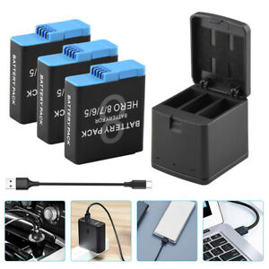 3×1200mAh Batteries + Charger Box Set For Gopro Hero 8 7 6 5 Travel Charging