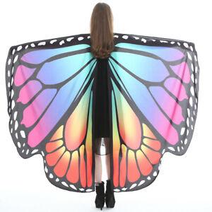 Womens Butterfly Wings Cape Headband Adult Fairy Pixie Cloak Fancy Dress Costume