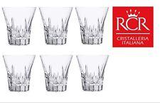 Set of 6x RCR Italian Crystal Fluente Whiskey Glass Gift/Presentation Box 310ml