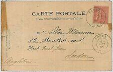 ALGERIA -  POSTAL HISTORY:  postcard from FOUKA to LONDON 1904