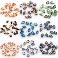 Wholesale 50Pcs Faceted Glass Crystal Charm Teardrop Spacer Loose Bead DIY 5x3mm