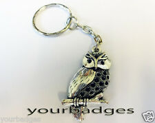 New Chrome Metal Perched Owl key chain keyring good Luck Protection Amulet