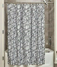 """Inter Design Abstract Fabric Shower Curtain  Black / White  72"""" x 72"""" New"""