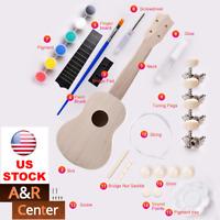 "DIY 21"" Ukulele Guitar Kit Basswood Full Accessories Build Paint Music Kids Gift"