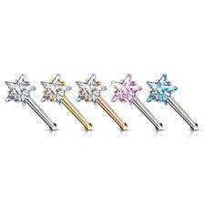 5pcs Prong Set Star Gem Nose Ring Studs Bones 316L Surgical Steel Body Jewelry