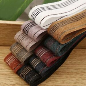 5Yards Striped Polyester Cotton Herringbone Ribbon Diy Accessories Gift Packing