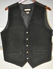 Roper Men's Black Suede Leather Vest Western Reenactment Biker Vest Size Medium
