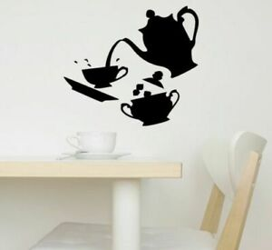 Kitchen Wall Stickers Teapot Art Decal Coffee Dining Room Home Decorations Big
