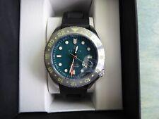 Nautis Global Dive GMT Orologio Aqua Quadrante 46 mm 18093R-A W Nero in Gomma RP $305