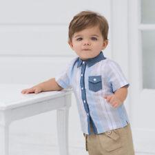Boys Blue Grey Stripe Shirt Size 1 Year 12 Months Brand New