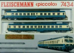 7434 Fleischmann Piccolo 2-piece Motor Carriage Set Series BR614 DB in Case UK