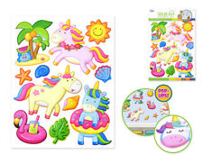 UNICORNS wall stickers 11 colorful 3-D pop-up decals Summer Theme beach shells