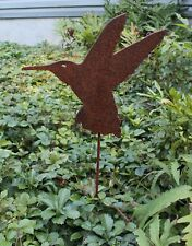 Rusty Hummingbird Silhouette Garden Stake Lawn Ornament - Amish Made in USA