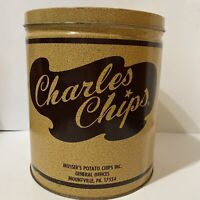Vintage Charles Chips Empty Tin 16oz Musser's Potato Chips Mountville PA