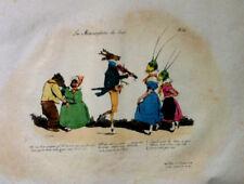 Danse Animaux Gravure GRANDVILLE les Métamorphose du Jour Pl 25 XIXème