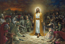 "36"" TOP religious ART # Jesus Christ Advent War and Peace painting on CANVAS"