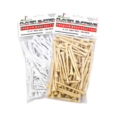"100 Pack White or Natural 2-3/4"" or 3-1/4"" Player Supreme Premium Wood Golf Tees"