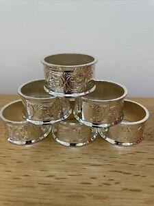 Vintage Mayell Silver Plated Napkin/Serviette Rings Set X 6. Ornate EP On Zinc