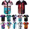 Fashion Mens 3D Print Baseball T-shirt Short Sleeve Button Sports Raglan Jersey