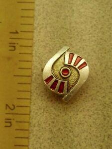 Vintage 10K Two-Tone Gold & Red Enamel Lapel Pin