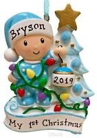 NEW BORN 2020 BLUE BOYS LIGHTING TREE BABY'S 1ST CHRISTMAS PERSONALIZED ORNAMENT