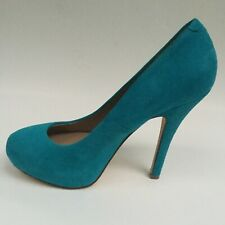 "Steve Madden Turquoise Blue Suede Leather Platform 5"" Heels Pumps New Women's 7"