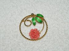 Neat Goldtone Wreath Green Enamel Leaf Leaves & Plastic Coral Flower Brooch Pin
