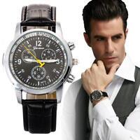 Men Watch Fashion Chronograph Faux Leather Quartz Analog Military Sport Watch