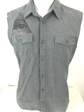 Vans Mens Sleeveless Shirt Vest Gray Lightweight Denim Pockets ~ RARE