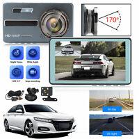 "4.5"" 1080P Dual Dash Cam Front Rear Camera Video G-sensor Night Vision Recording"
