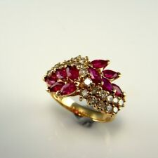 GLOWING! VIVID RED NATURAL RUBY Diamond Ring 14K Yellow Gold 14kt Band Wedding