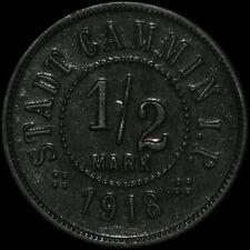 NOTGELD: 1/2 Mark 1918, Zink. F 76.4a. STADT CAMMIN / POMMERN ⇒ KAMIEŃ POMORSKI.