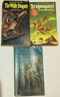 3 Vintage Anne McCaffrey Paperbacks Dragonquest, White Dragon, To Ride Pegasus