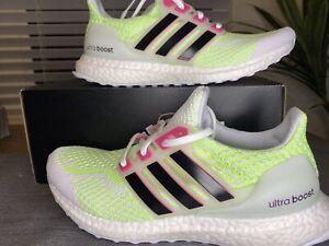 Adidas Running Ultraboost 5.0 DNA White Black Green Glow In Dark G58759 Wmn 7.5