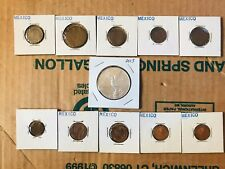 Lot Of 11 Mexican Coins 1 Onza .999 Silver Coin & 10 Other Mexican Coins