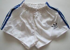 Adidas vintage 1980s white blue nylon shorts Hose soccer made West Germany 152