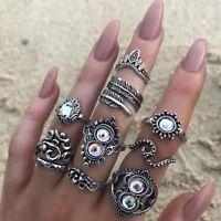 16 Teile / satz Vintage Silber Kristall Party Ring Set Frauen Mode Ringe mode
