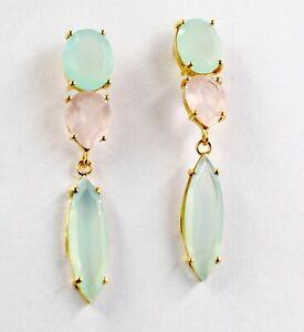 Chalcedony Rose Quartz 5.52g Dangle 925 Sterling Silver Wedding Earrings SE1662