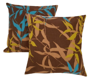 """Cushion Cover Brown Turquoise Lime Leaf  Design 12"""" 14"""" 16"""" 18"""" 20""""  Handmade"""