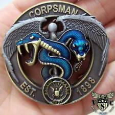 """NAVY AND MARINE CORPS BLUE GREEN CORPSMAN DEVIL DOC FLIP 2"""" 3D CHALLENGE COIN"""