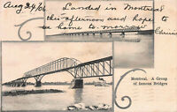 A Group of Famous Bridges, Montreal, Canada, Early Postcard, Used in 1906