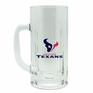 ONE BRILLIANT HOUSTON TEXANS, HEAVY GAGE, CLEAR GLASS BEER MUG