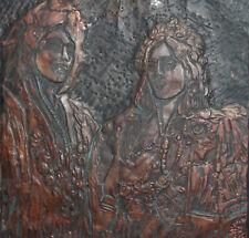 Vintage Hand Made copper wall decor plaque portrait