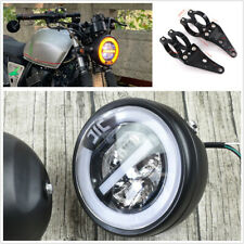 "6.8"" Universal Motorcycle White LED Halo Ring Daylight Headlamp+41mm Fork Holder"